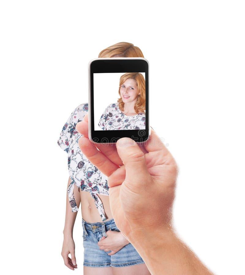 Het fotograferen van smartphone mooi meisje royalty-vrije stock fotografie