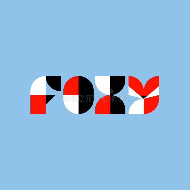 Het Foxy van letters voorzien met abstracte geometrische vos Het malplaatje of het pictogram van het embleemteken vector illustratie