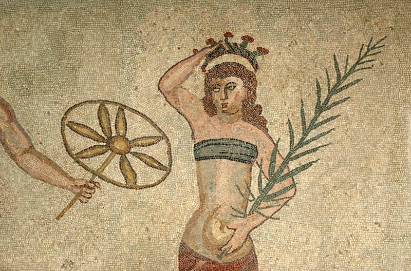 Het fragment Roman Villa Romana del Casale van het mozaïek royalty-vrije stock afbeeldingen
