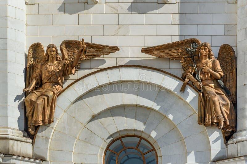 Het fragment van brons beeldhouwt op Kathedraal van Christus de Verlosser moskou Rusland royalty-vrije stock foto's