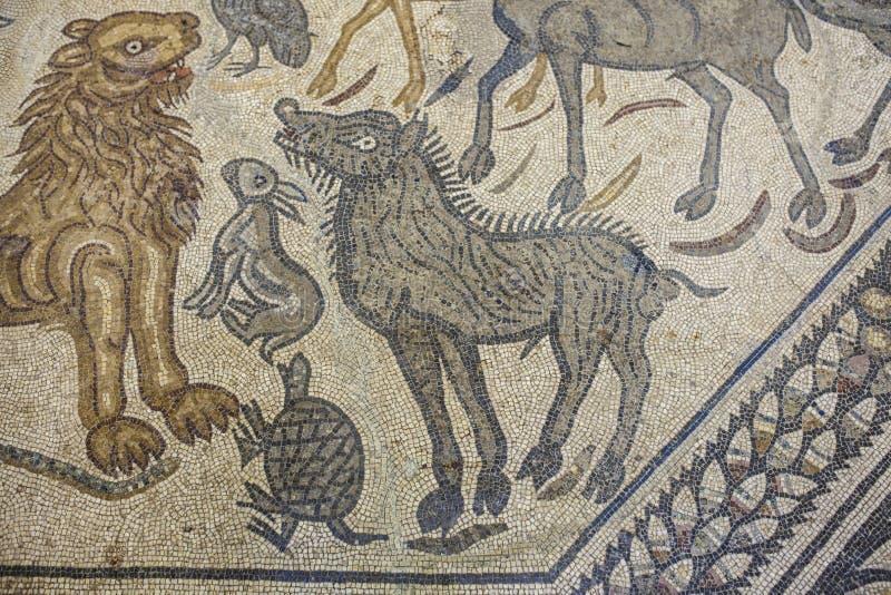 Het fragment van het Orpheusmozaïek met dieren royalty-vrije stock foto's