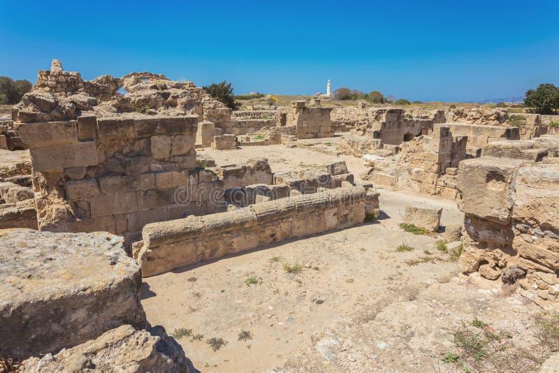 Het fragment van Sarandakolones van Kato Pafos Archaeological Park, plaatsen royalty-vrije stock foto