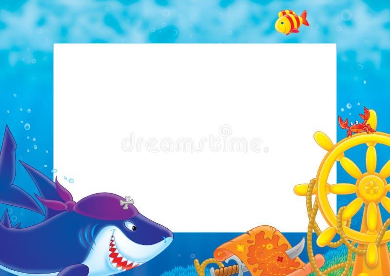 Het frame âPirate Sharkâ van de foto stock illustratie