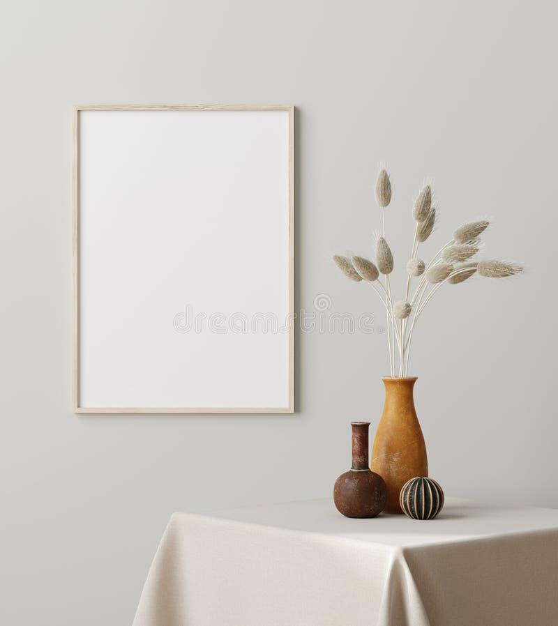 Het frame sluiten met droog gras in vaas op tafel, Scandinavische stijl royalty-vrije illustratie