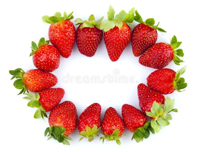 Het frame van aardbeien stock afbeeldingen