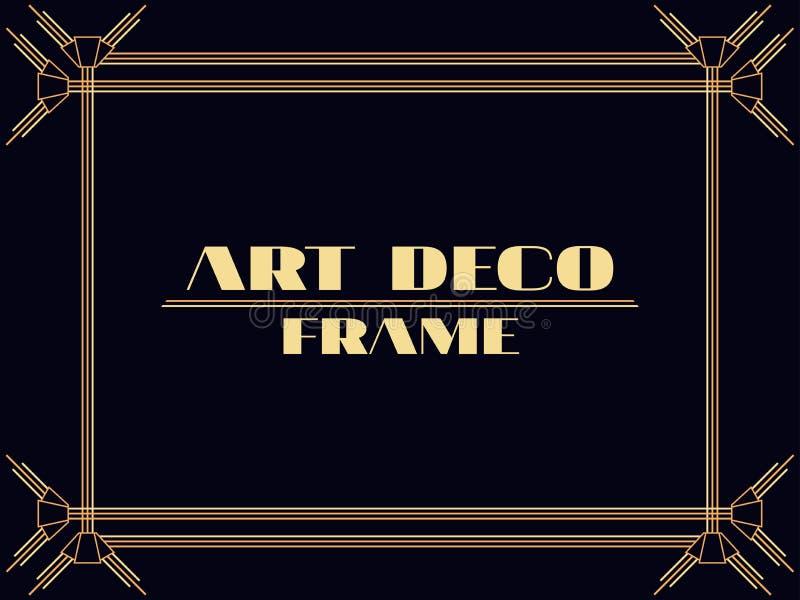 Het Frame van het art deco Uitstekende lineaire grens Ontwerp een malplaatje voor uitnodigingen, pamfletten en groetkaarten De st vector illustratie