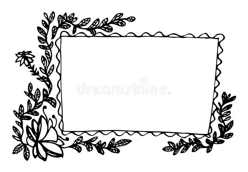 Het frame van bladeren en van bloemen stock illustratie