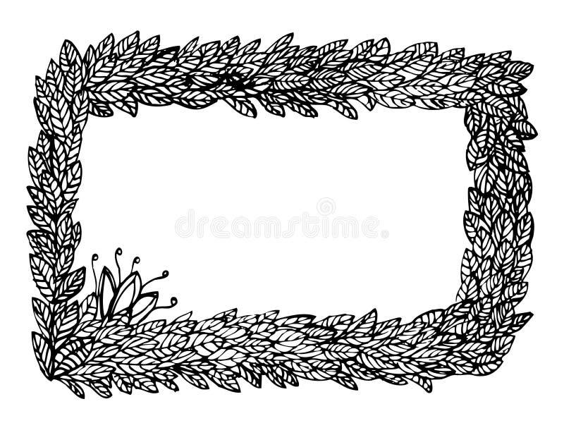Het frame van bladeren en van bloemen vector illustratie