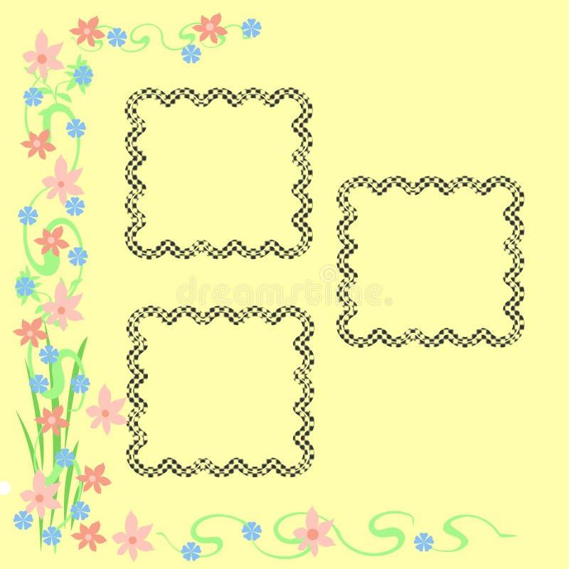Het frame van bloemen en van wijnstokken stock illustratie