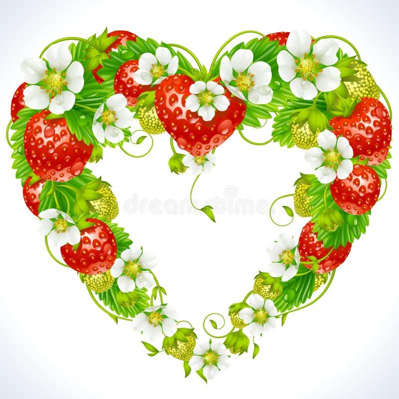Het frame van de aardbei in de vorm van hart royalty-vrije illustratie