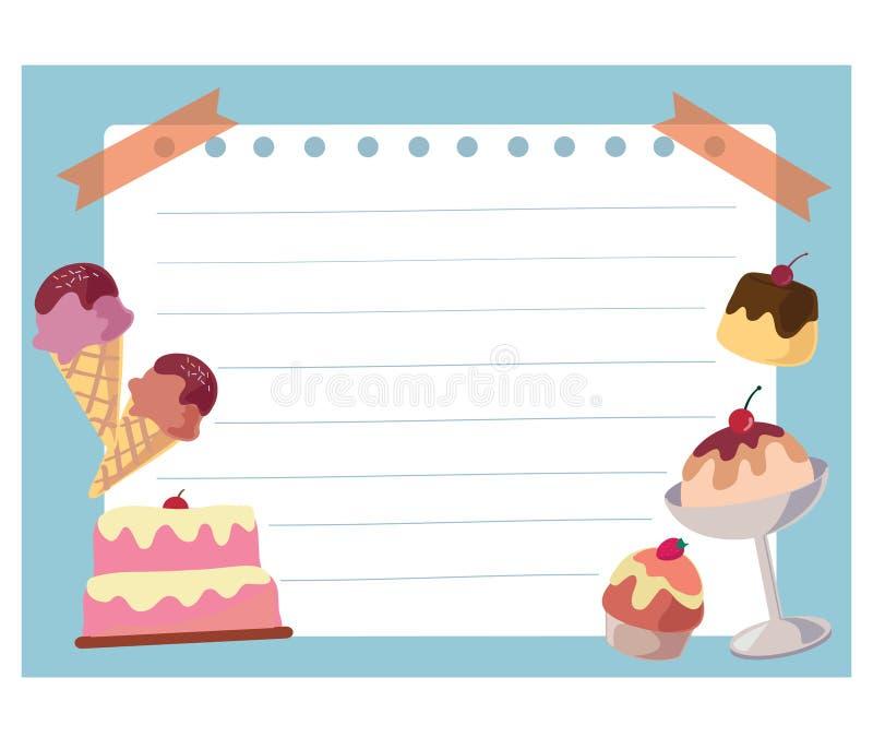 Het frame van de cake en van het roomijs achtergrond royalty-vrije illustratie