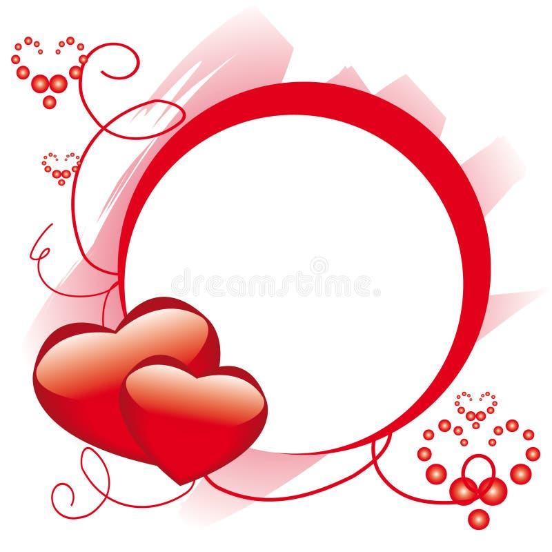 Het frame van de cirkel met harten stock illustratie