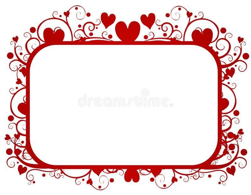 Het Frame van de Dag van de rode Valentijnskaart van de Wervelingen van Harten vector illustratie