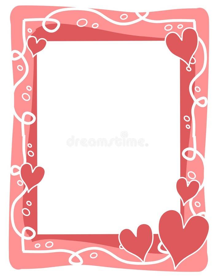 Het Frame van de Dag van de roze Valentijnskaart van de Bellen van Harten vector illustratie