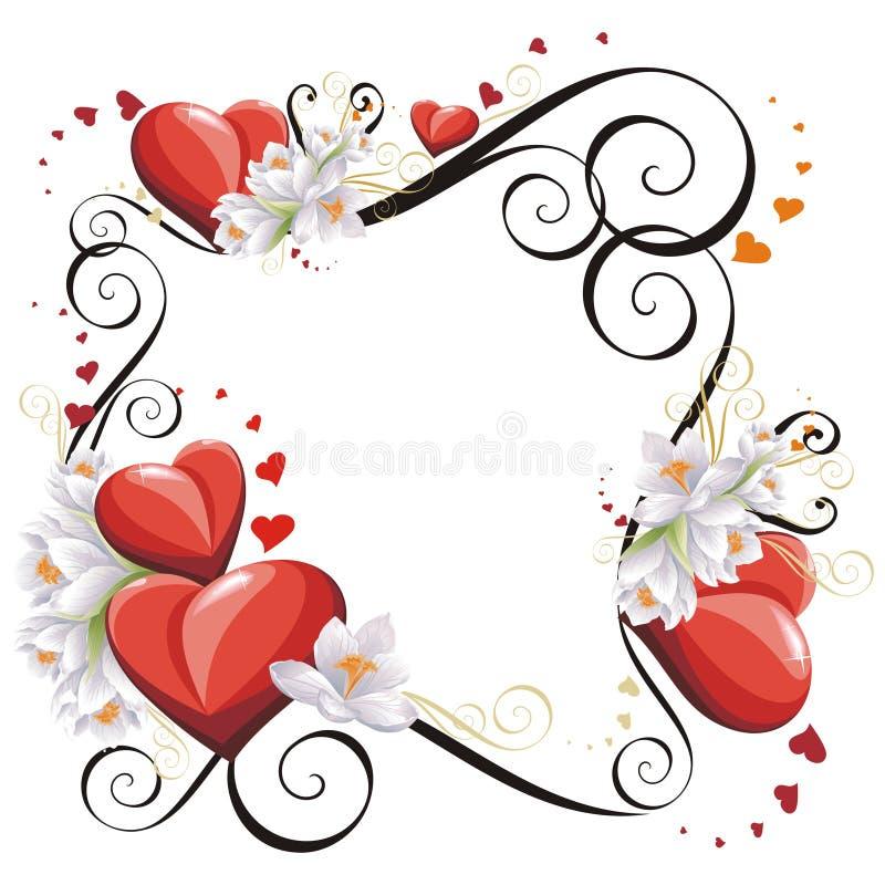 Het frame van de Dag van valentijnskaarten met Harten en bloemen stock illustratie