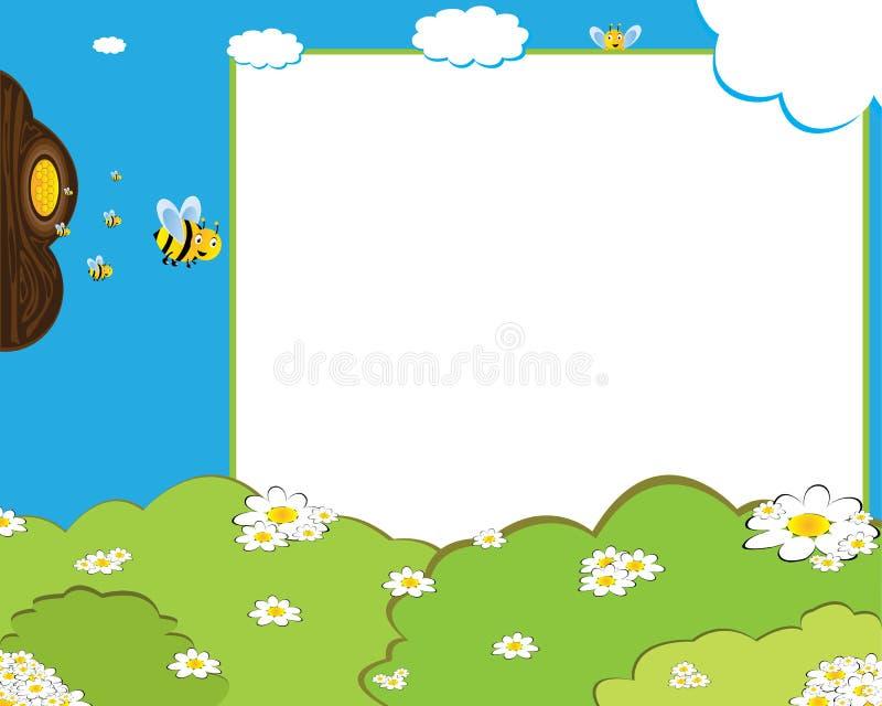 Het frame van de de bijenfoto van het beeldverhaal vector illustratie