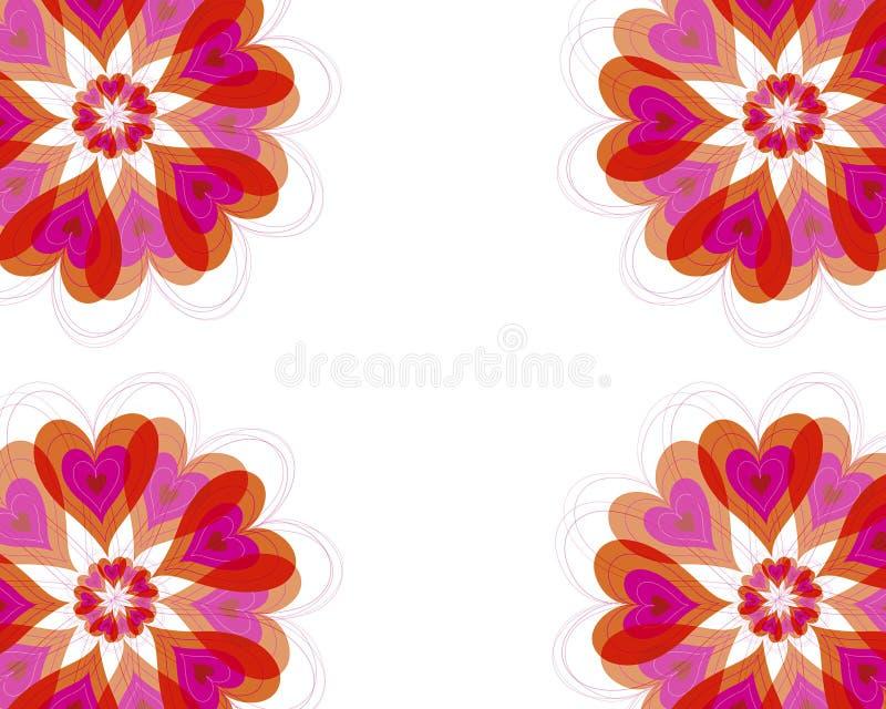 Het frame van de de hartenbloei van de bloem vector illustratie