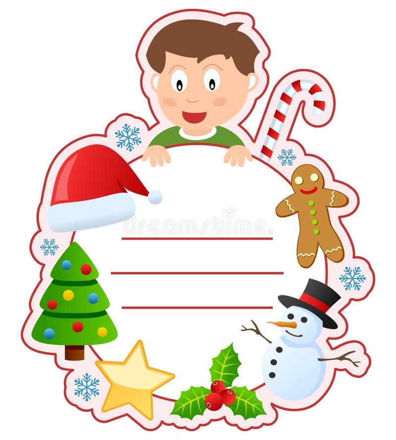 Het Frame van de Dekking van het Boek van de Jongen van Kerstmis stock illustratie
