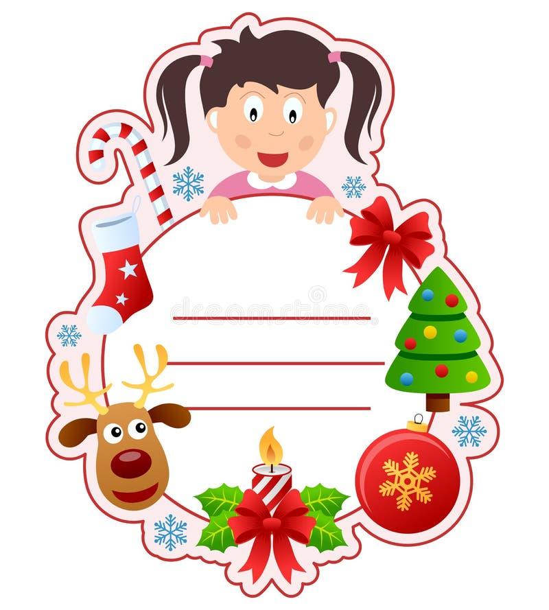 Het Frame van de Dekking van het Boek van het Meisje van Kerstmis royalty-vrije illustratie