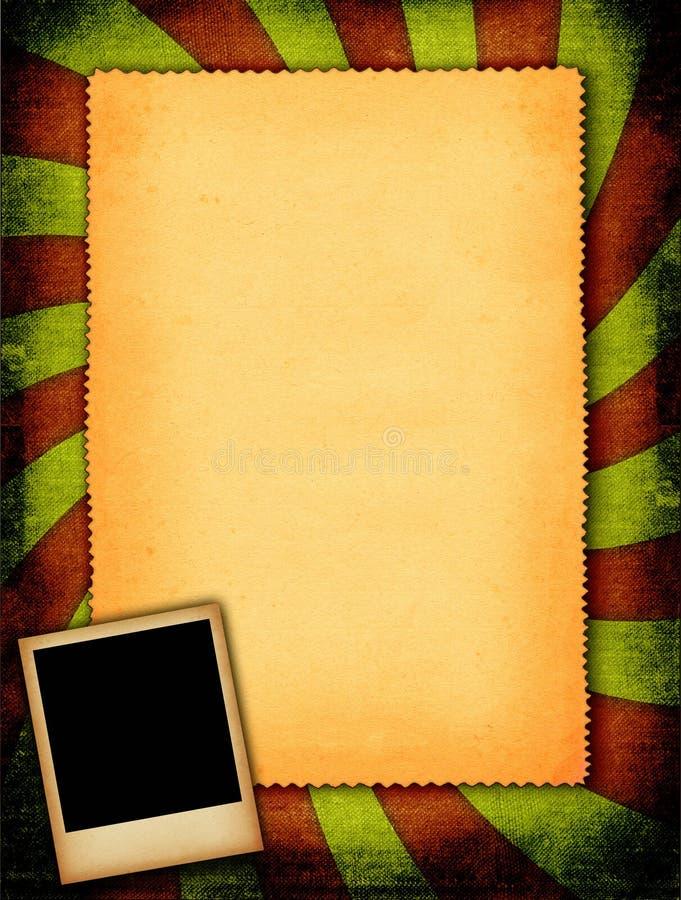 Het frame van de foto tegen retro document achtergrond royalty-vrije stock foto's