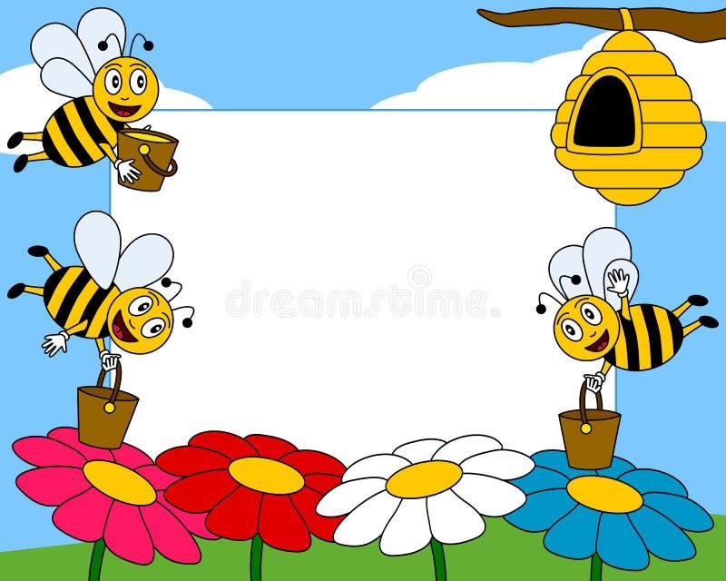 Het Frame van de Foto van de Bijen van het beeldverhaal [1] royalty-vrije illustratie