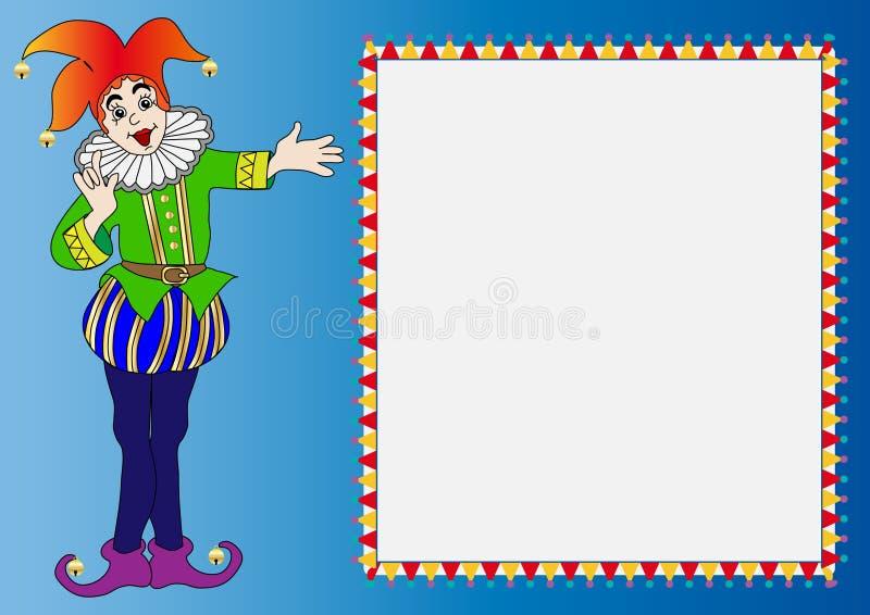 Het frame van de illustratie met vrolijke clown vector illustratie