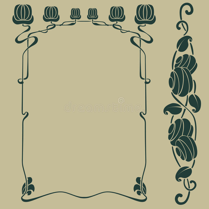 Het frame van de Jugendstil stock illustratie
