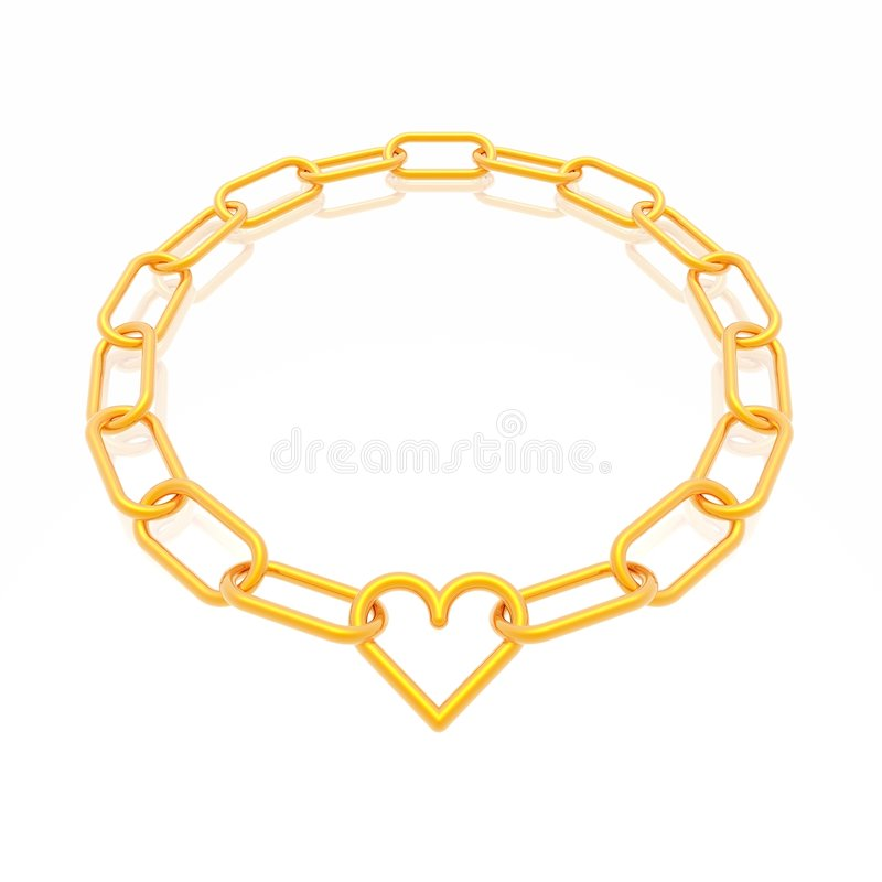 Het frame van de ketting met hart stock illustratie