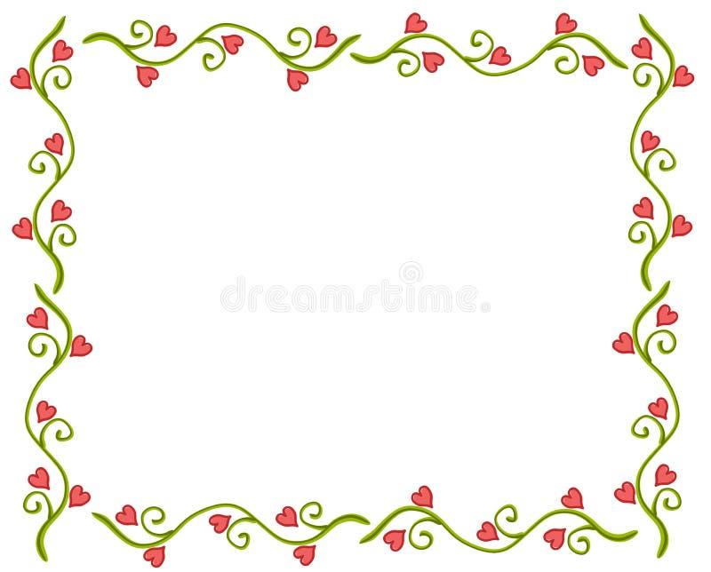 Het Frame van de Wijnstok van de Bloem van het Hart van de Dag van de valentijnskaart vector illustratie