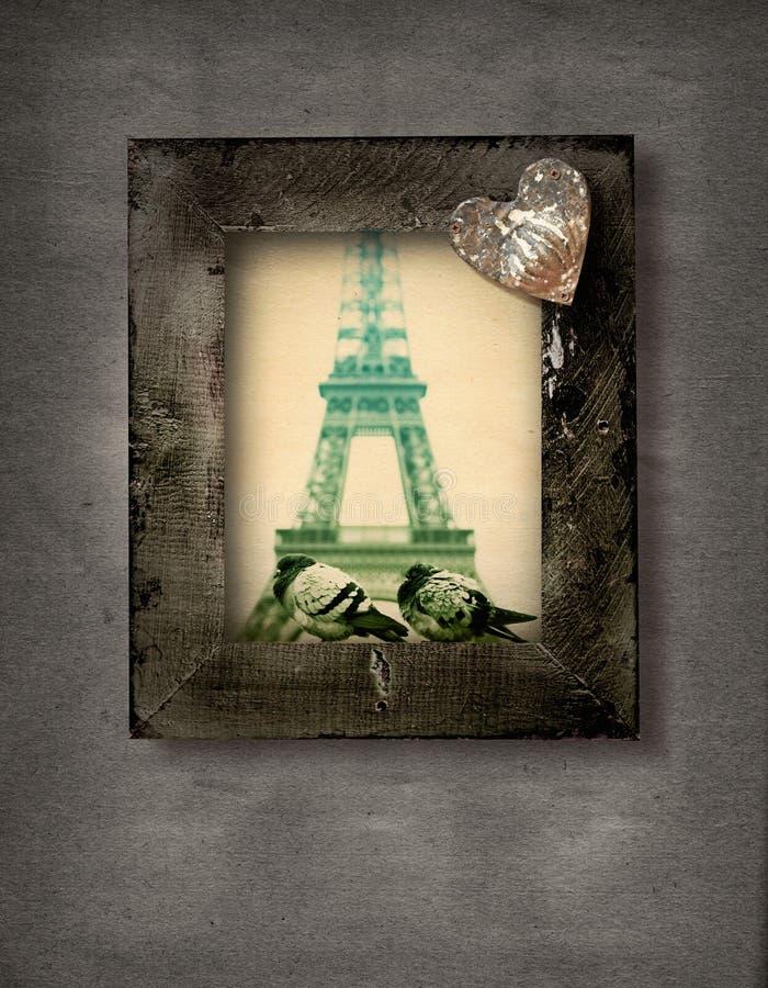 Het frame van Grunge met duiven en van Eiffel Toren royalty-vrije illustratie