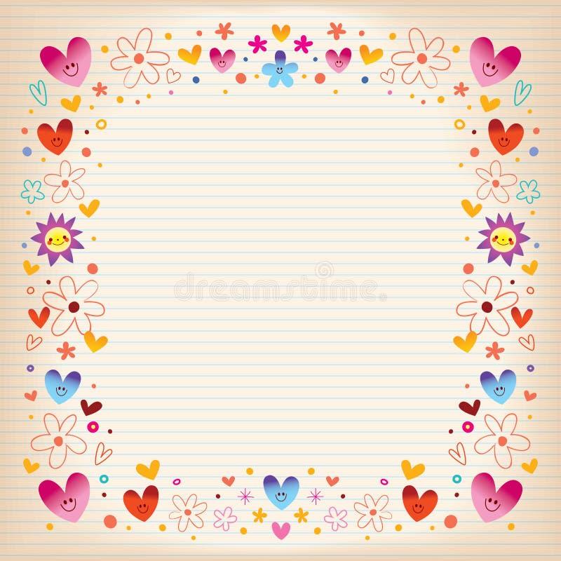 Het frame van harten en van bloemen royalty-vrije stock foto