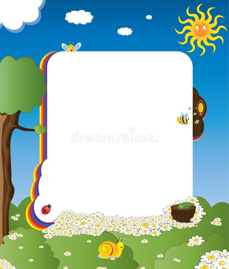 Het frame van het beeldverhaal met gelukkige insecten royalty-vrije illustratie