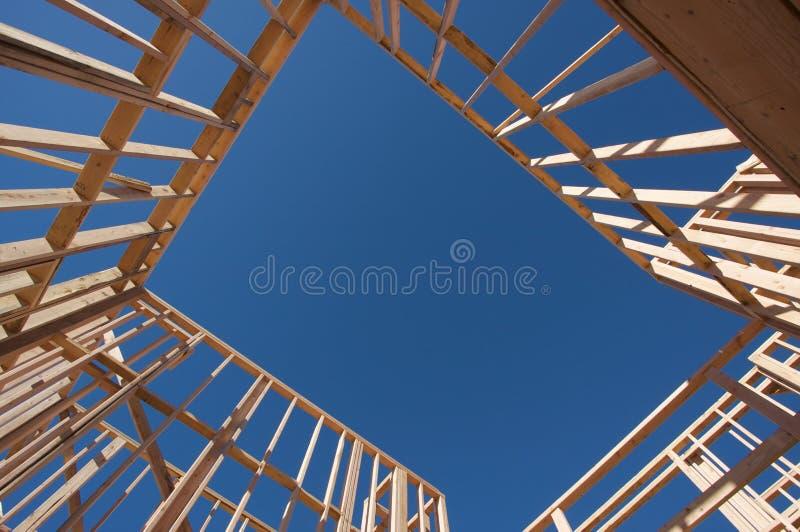 Het Frame van het Huis van de bouw. royalty-vrije stock afbeelding