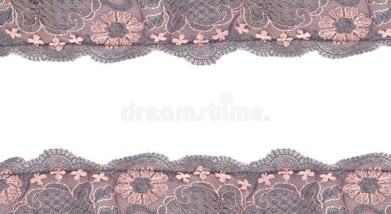 Het frame van het kant dat op wit wordt geïsoleerda royalty-vrije stock afbeelding