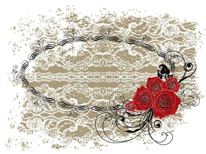 Het frame van het kant ovale valentijnskaart rode rozen en wervelingen stock illustratie