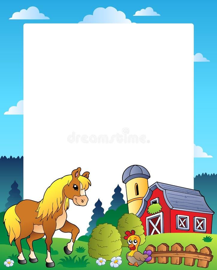 Het frame van het land met rode schuur 4 stock illustratie