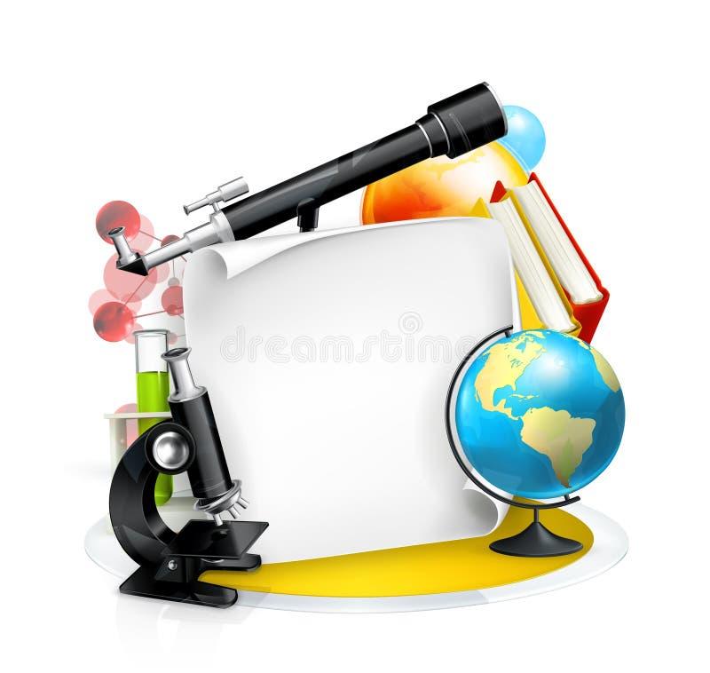 Het frame van het onderwijs en van de Wetenschap vector illustratie