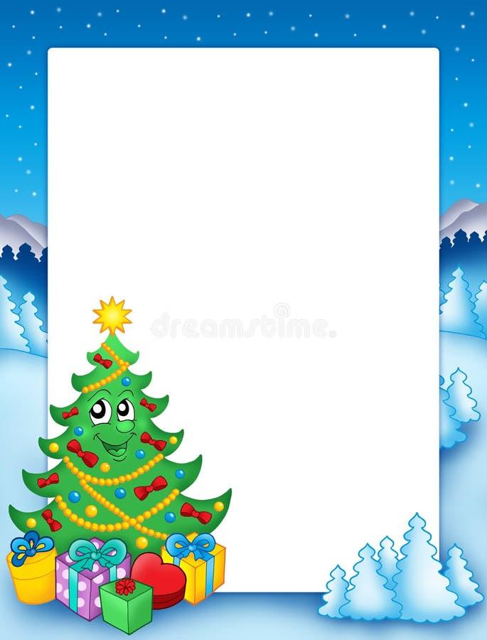 Het frame van Kerstmis met boom 1 vector illustratie