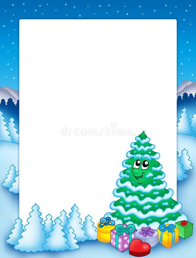 Het frame van Kerstmis met boom 2 royalty-vrije illustratie
