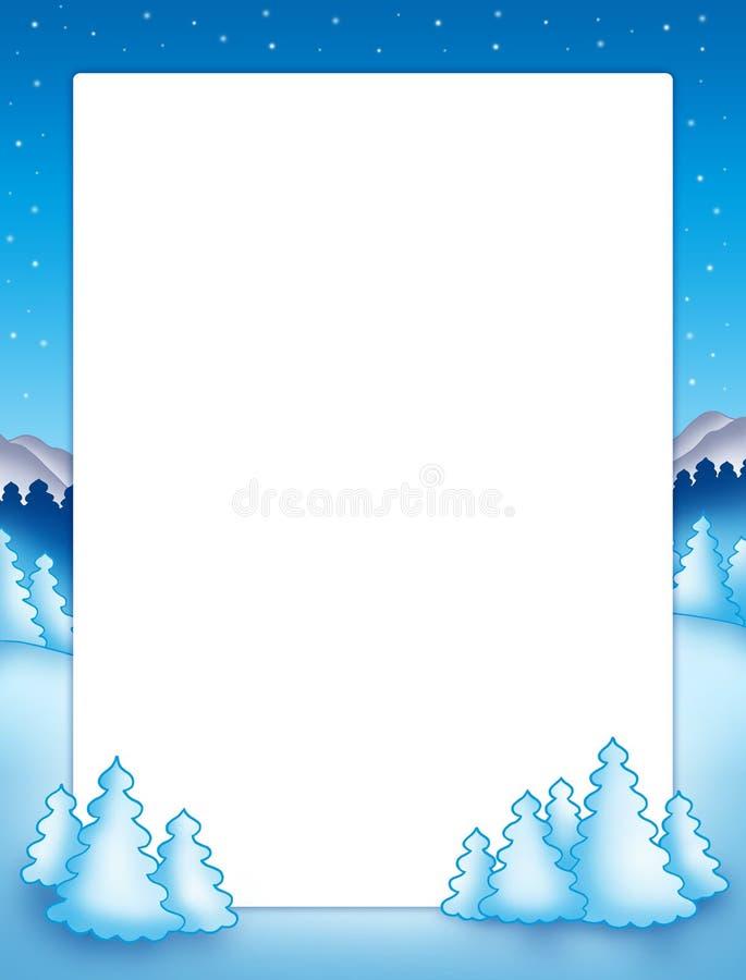Het frame van Kerstmis met sneeuwbomen vector illustratie