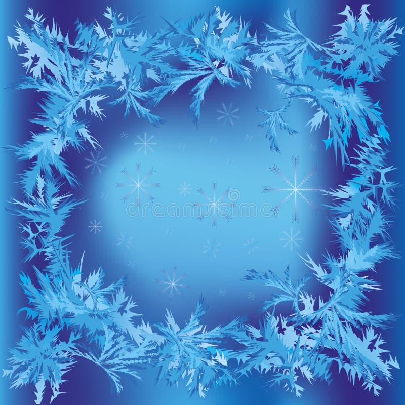 Het frame van Kerstmis met sneeuwvlokken en ijzig patroon vector illustratie