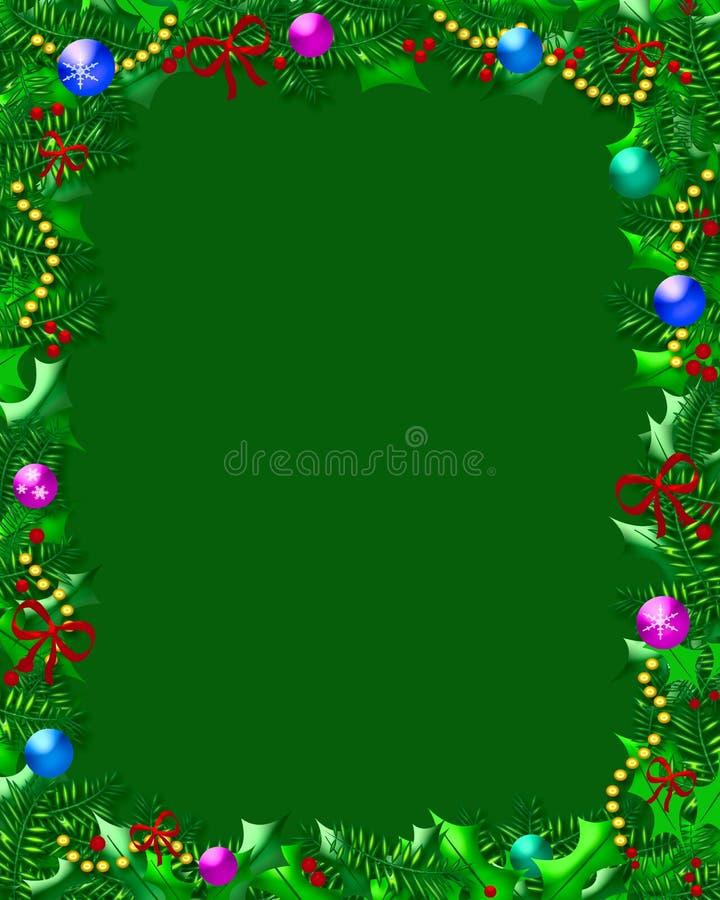 Het frame van Kerstmis van de hulst vector illustratie