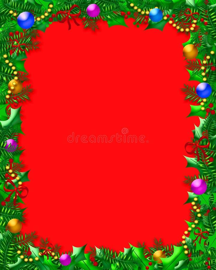 Het frame van Kerstmis van de hulst royalty-vrije illustratie