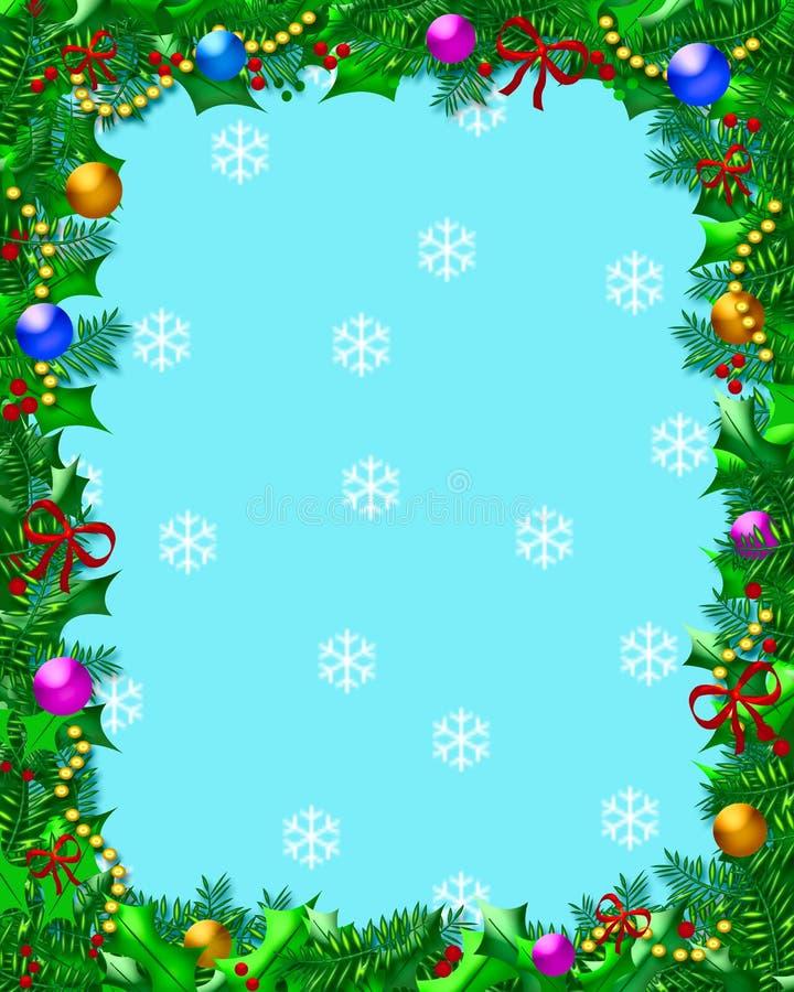 Het frame van Kerstmis van de hulst stock illustratie