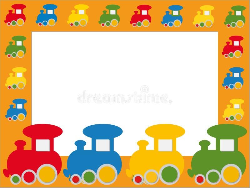 Het frame van kinderen met treinen stock illustratie
