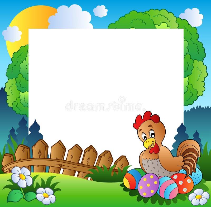 Het frame van Pasen met kip en eieren