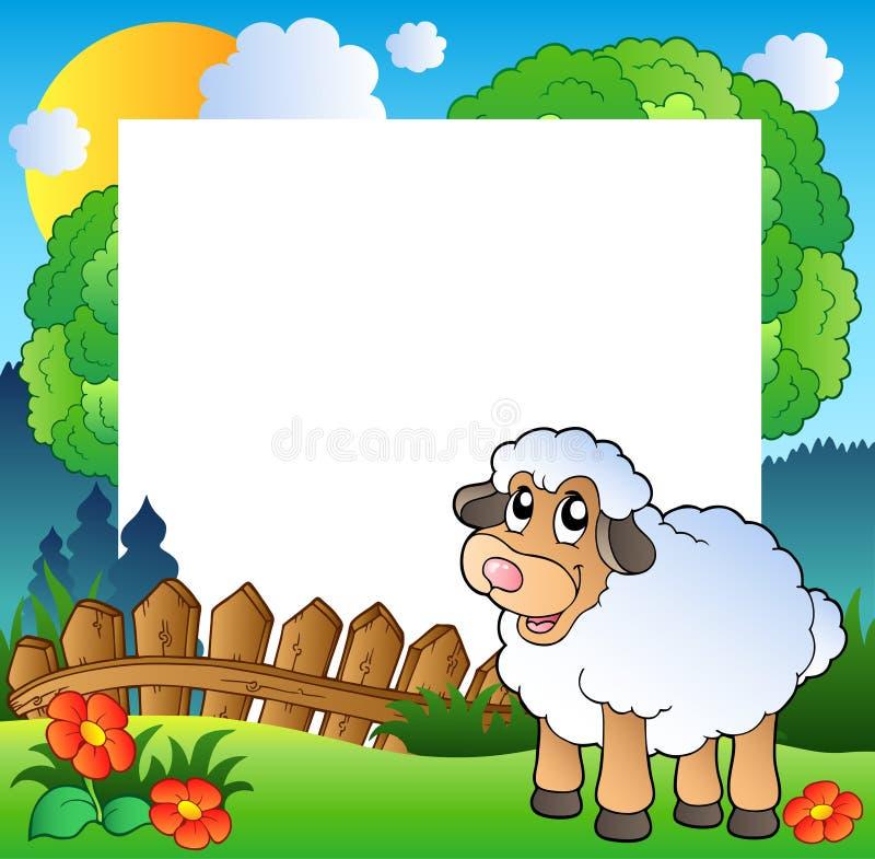 Het frame van Pasen met schapen op weide royalty-vrije illustratie