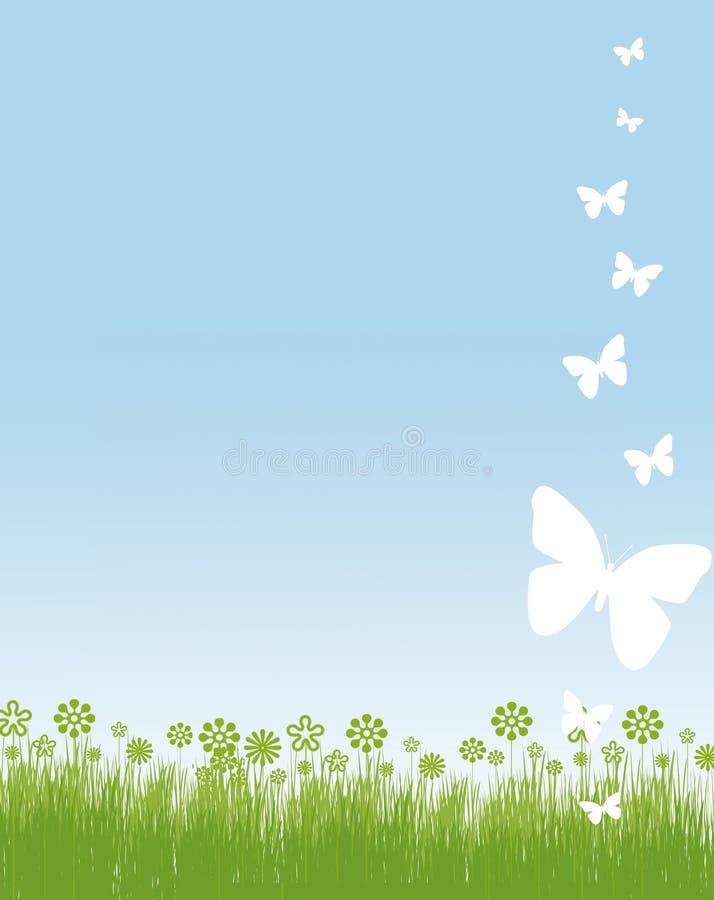 Het frame van vlinders en van bloemen stock illustratie