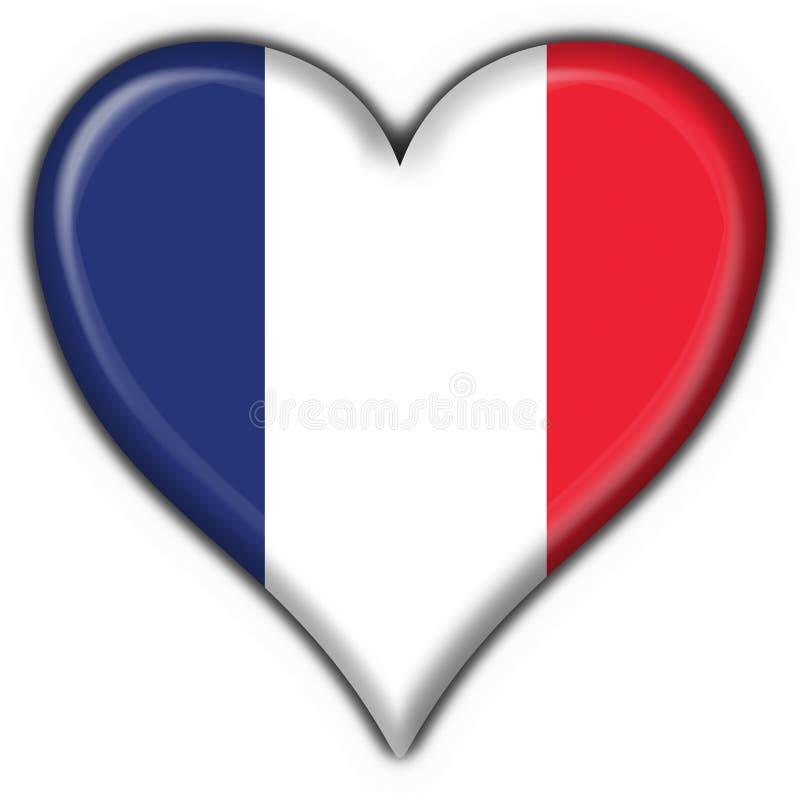 Het Franse hart van de knoopvlag stock illustratie