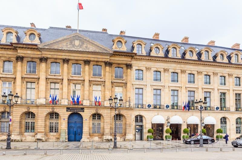 Het Franse Ministere DE La Justice ministerie wordt gevestigd op Plaats stock afbeelding